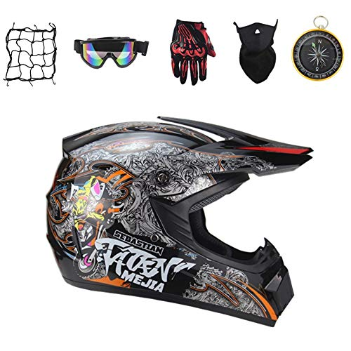 IURIMA Juego de casco de motocross Downhill para motocicleta, casco de enduro juvenil para niños, casco todoterreno, BMX, quad, bicicleta, ATV, Go Kart, (55-56) M