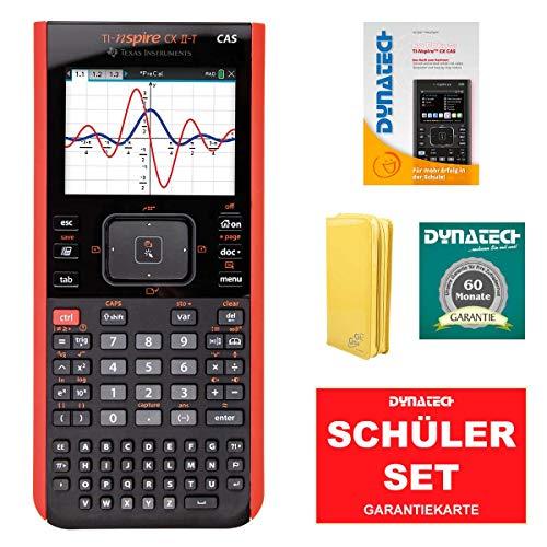 TI-Nspire CX II-T CAS Grafikrechner + CalcCase Schutztasche Lack Gelb + Garantieverlängerung + Im Fokus: Das Buch zum Rechner