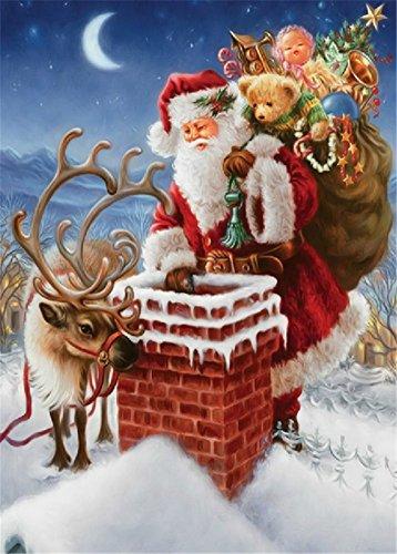 YEESAM ART New 5D Diamond Painting Kit - Santa Claus Elk Chimneys Christmas Gifts 30 * 40 - DIY Rhinestone Diamond Painting Pasted Paint by Number Kits Cross Stitch Embroidery