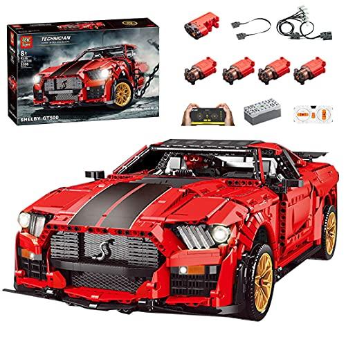 Hedi Technik Ferngesteuert Sportwagen für Ford Mustang Shelby GT500 , Rot Technik Auto Modellbausatz mit Motoren Kompatibel mit Lego Technic