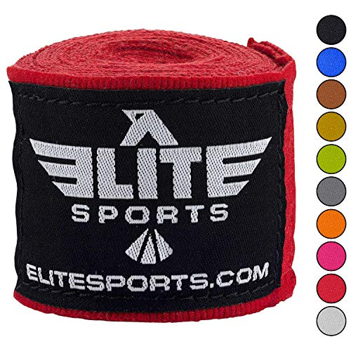 Elite Sports Boxing Hand Wraps for Kickboxing, Muay Thai, MMA Professional 180 inch handwraps for Men & Women (Red)