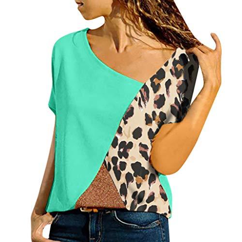 Buy Bargain Goddessvan 2019 Plus Size Top Women Asymmetric Neck Patch Color Block Leopard T-Shirts w...