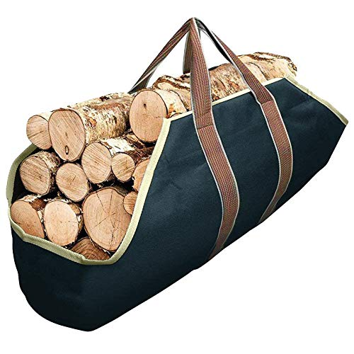 Toile Sac à bûche Cheminée Sac de rangement pour le bois de chauffage Grande capacité Porte-bûches De plein air Porte-bûches en bois Solide Sac de transport en bois
