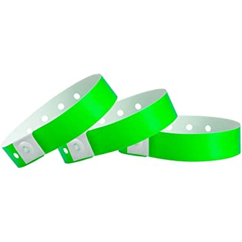 WristCo Neon Green Plastic Wristbands - 100 Pack Wristbands for Events