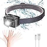 Powerole Stirnlampe Superheller Kopflampe USB Wiederaufladbare Wasserdicht Aluminiumlegierung Stirnleuchte,8 Modi,Zoombar Sensor Leichtgewichts Mini LED Stirnlampen für Joggen,Laufen, Campen,Angeln