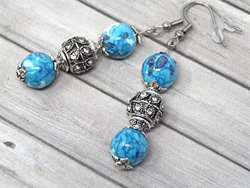 Pendientes de acero inoxidable con cuentas de azul y blanco de jade reconstituidas, y perlas con cristales