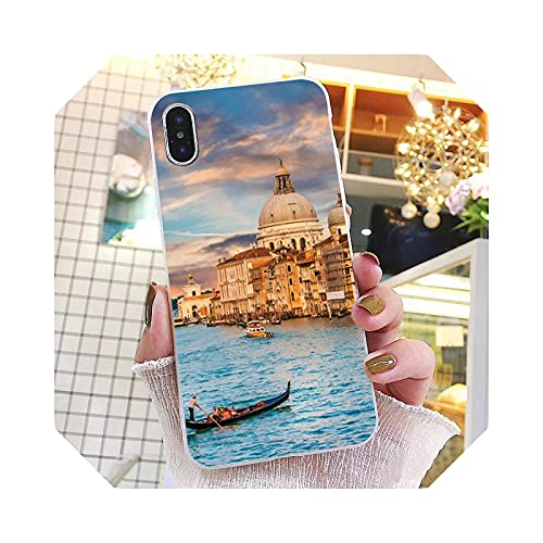 Travel Italy Street Venice Landscape Paint Cafe Phone Case for iPhone 11 Pro Max Case for iPhone 12 Pro XS Max XR SE2 8 7 Plus X-TPU-for iPhone 11