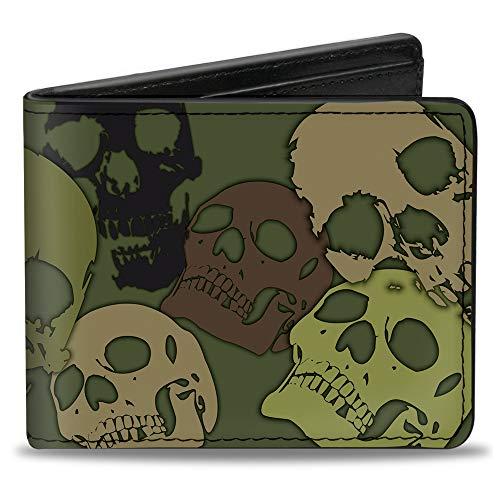 Buckle-Down PU Bifold Wallet - Camo Olive Skull Yard