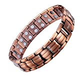 Mens Copper Bracelet Double Row with Velvet Gift Box and Free Link Removal Tool Father's Day Gift
