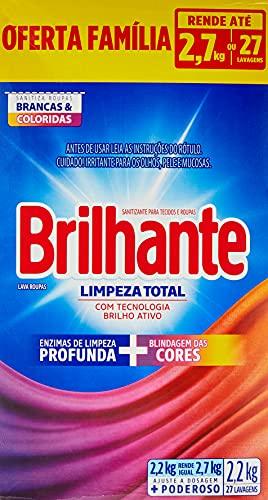 Sanitizante Lava-Roupas em Pó Roupas Brancas e Coloridas Brilhante Limpeza Total Caixa 2, 2kg Oferta Família, Brilhante