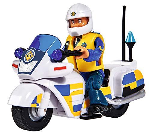 Simba 109251092 - Feuerwehrmann Sam Polizei Motorrad, mit Malcolm Figur, mit Zubehör, Staffel 12, ab 3 Jahren
