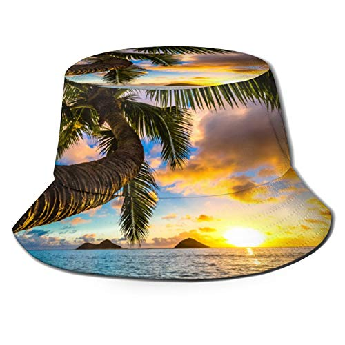PUIO Sombrero de Pesca,Hermoso Amanecer en la Playa de Lanikai Kailua en Hawaii,Senderismo para Hombres y Mujeres al Aire Libre Sombrero de Cubo Sombrero para el Sol