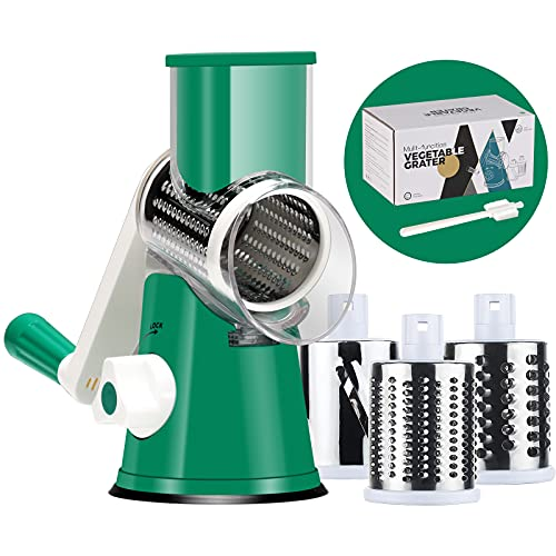 Cheese Grater Cheese Shredder - Manual Rotary Cheese Grater with Handle Vegetable Slicer Nuts Grinder 3 Replaceable Drum Blades and Strong Suction Base Free Cleaning Brush