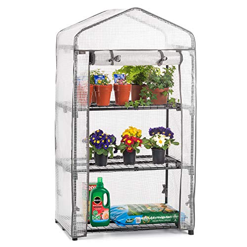 CHRISTOW Mini Greenhouse 3 Tier, Small Portable Garden Growhouse, Reinforced PE Plastic Cover, Heavy Duty Steel Frame, Three Shelves With Clips, Compact Size H125cm x W69cm x D49cm