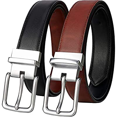 Lavemi Mens Belt Reversible 100% Italian Cow Leather Dress Casual Belts for men,One Reverse for 2 Colors,Trim to Fit(21855-2 120)