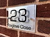 StickersWall PERSONALISED HOUSE SIGN PLAQUE DOOR NUMBER STREET ACRYLIC ALUMINIUM NAME