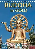BUDDHA in GOLD (Tischkalender 2022 DIN A5 hoch): Buddha-Statuen aus Asien im Glanz des Goldes (Monatskalender, 14 Seiten )