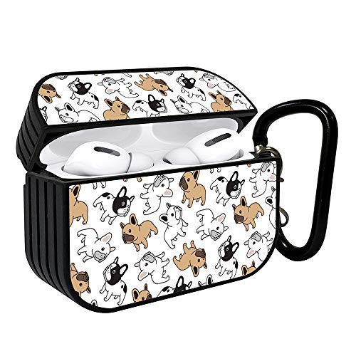 Shockproof Portable Protective Hard Printing Pattern Cover Case with Carabiner Compatible with AirPods Pro/Cute French Bulldog Pattern