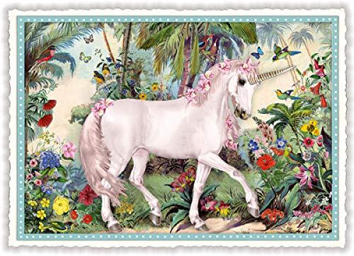 Nostalgische Postkarte mit Glitzer * Einhorn