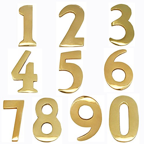 ADDRESSES OF DISTINCTION 8 Customized 2-Inch Brass Mailbox Numbers – Pick Your Numbers - Self Adhesive – Williamsburg Font – Won't Tarnish – Numbering for Address Plaque