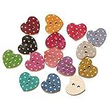 SiAura Material - 200 bottoni in legno per scrapbooking a forma di cuore, 18 mm x 16 mm, colori assortiti, 2 fori, per cucito, artigianato e decorazione