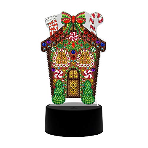 Christmas Diamond Painting Night Light Gingerbread House LED Lamp DIY Handmade Artwork 5D Full Drill Special Shaped Crystal Drawing Kit Arts Craft Bedside Lamp for Home Decor Gifts