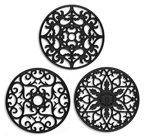 Tapis de Dessous de Plat en Silicone, Lot de 3 Tapis de Dessous de Plat à Fleurs en Silicone Polyvalents, sous-Verres sculptés, sous-Verres Chauds isolés (Noir)