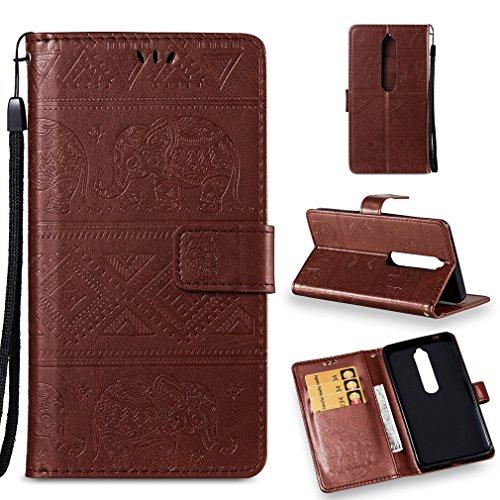 LMFULM® Hülle für Nokia 6.1 / Nokia 6 2018 (5,5 Zoll) PU Leder Magnet Brieftasche Lederhülle Elefant Prägung Design Stent-Funktion Handyhülle für Nokia 6.1 / Nokia 6 2018 Braun
