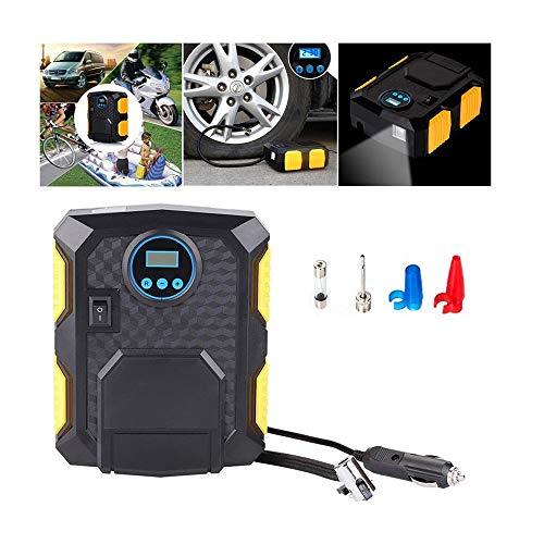 Qilo Inflador de neumáticos, compresor de Aire Portable del neumático de la Bomba de Coches, Manómetro Digital de 12V, usadas en los neumáticos de Coches y Bicicletas, Baloncesto, etc