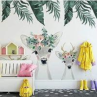 XSJ 壁紙カスタム3D壁画スタイル手描き水彩子鹿花植物子供部屋背景装飾壁紙-320X240CM