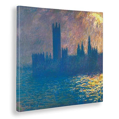 Giallobus - Schilderij - Claude Monet - Huis van het Parlement - Zonne effect - afdrukken op doek - klaar om op te hangen - Verschillende formaten - 50x50 cm