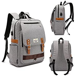 Mochila para portátil, mochila escolar para portátil de 15.6 pulgadas con puerto de carga USB para hombres y mujeres…