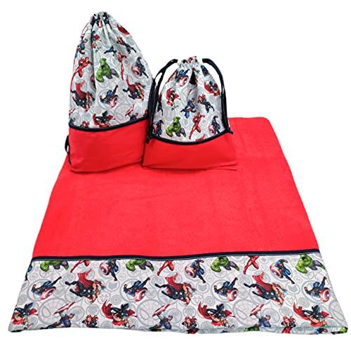 Conjunto de Macuto + Toalla de Playa + Bolsa de bañador. Marvel (Rojo/Marino)