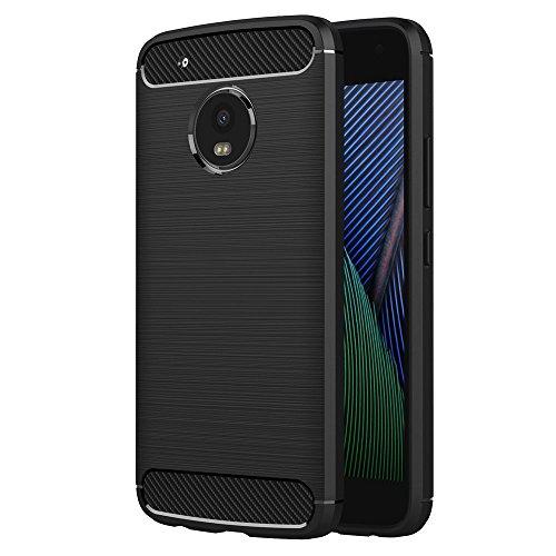 Funda para Motorola Moto G5 Plus (5,2 Pulgadas) TPU Silicona Carcasa Fundas Protectora con Shock Absorción y Diseño de Fibra de Carbon (Negro)