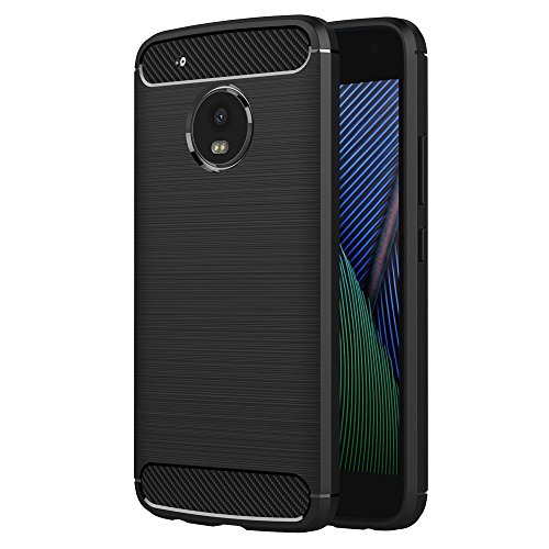 Case for Motorola Moto G5 Plus (5.2 inch) Soft Silicon Luxury Brushed with Texture Carbon Fiber Design Protection Cover (Black)