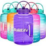 BuildLife Botella de agua de 3,78 L/2,5 L con estrella y marcador de tiempo motivacional, boca ancha grande sin BPA, con mango, reutilizable, a prueba de fugas para beber más agua diariamente (morado claro, 2,5 L)