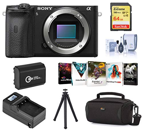 Sony Alpha a6600 Mirrorless Digital Camera Body Bundle with Bag, Extra Battery, Charger, 64GB SD Card, Tripod, Corel PC Software...