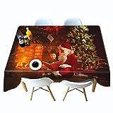 Shadow Cubierta de Mesa a Prueba de Polvo Navidad Mantel Impreso en 3D cabaña Mantel de Personalidad de Navidad Mantel de Personalidad Colgante de Tela 80x180cm