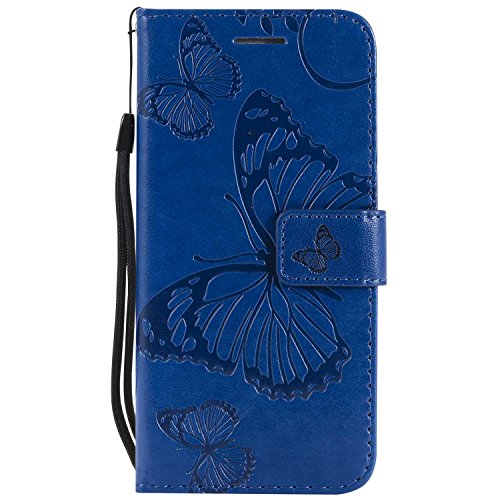 """DENDICO Cover iPhone 6, Cover iPhone 6s (4.7""""), Pelle Portafoglio Custodia per Apple iPhone 6 / iPhone 6s Custodia a Libro con Funzione di appoggio e Porta Carte di cRossoito - Blu"""
