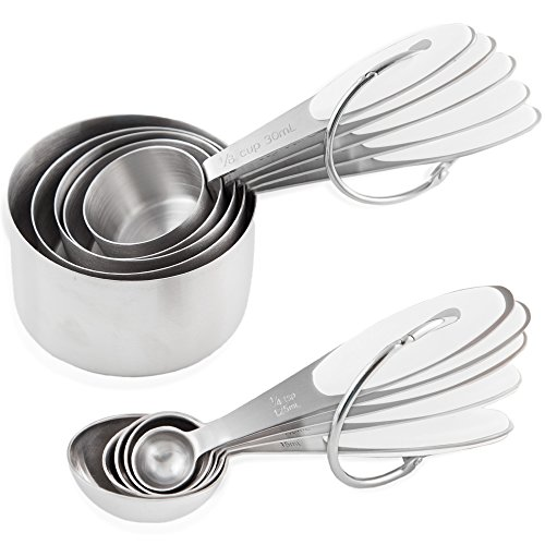 Measuring Cups and Measuring Spoons set by Chef U | Stainless Steel Measuring Cups and Spoons Set of 10 | Liquid Measuring Cup or Dry Measuring Cup Set | Stainless Measuring Cups | Nesting (White)