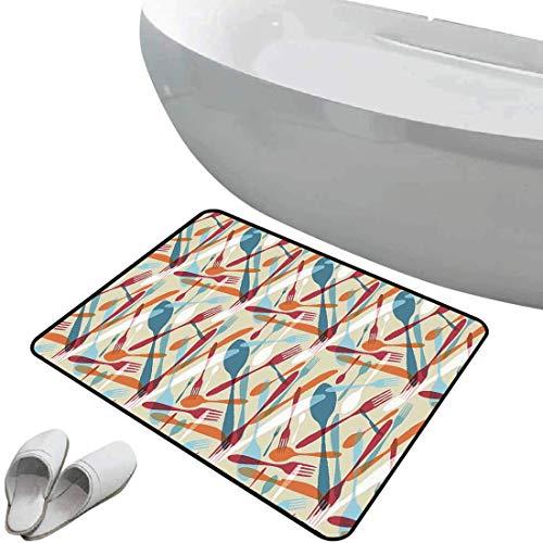 Alfombra de baño antideslizante de felpudo Decoración Alfombrilla goma antideslizante Imagen abstracta de cubiertos Cuchillo Tenedor Cuchara Patrón de diseño de arte moderno para el hogar y la cafeter