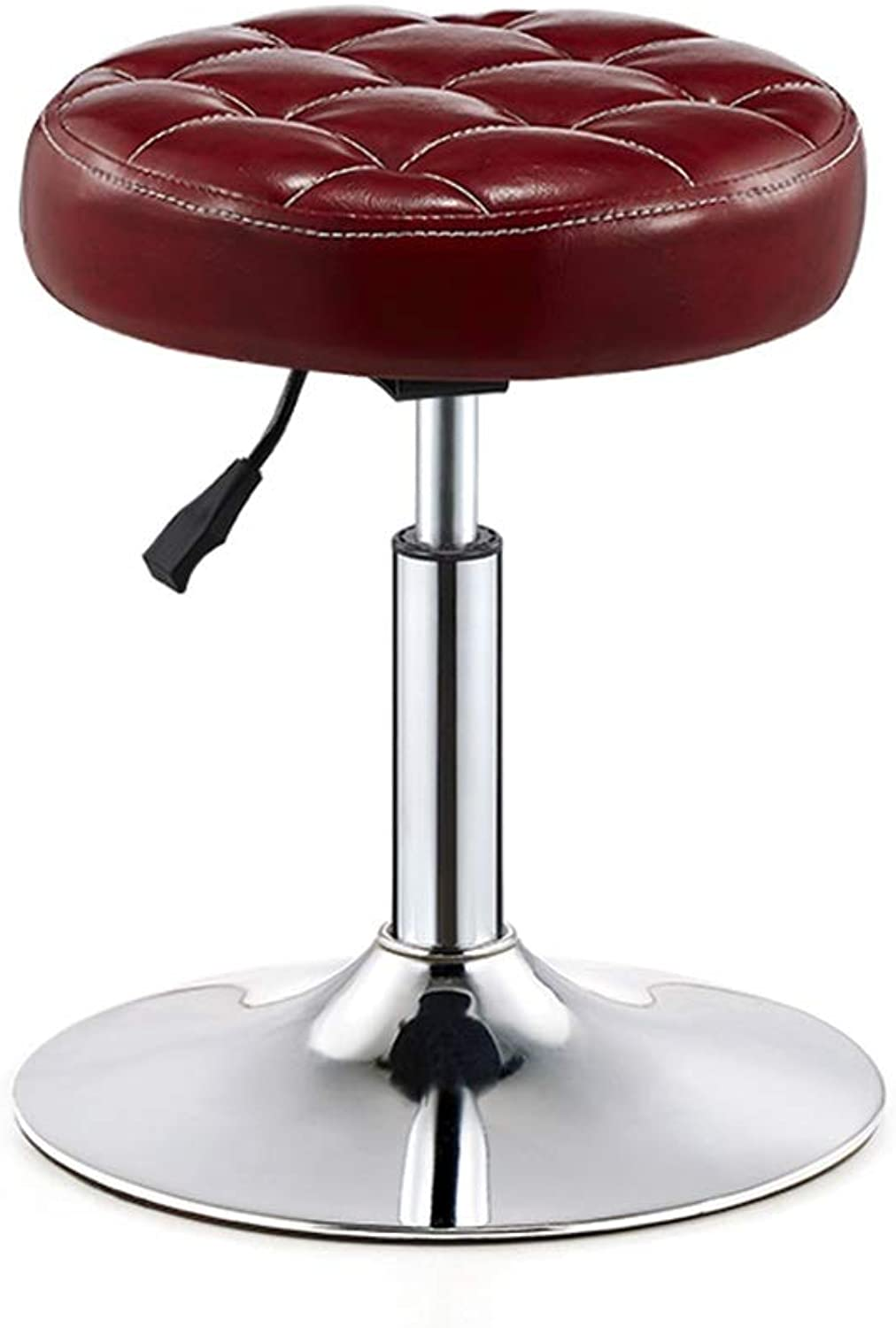 WQZB-Swivel Chair Barstools Chair Round PU Seat Adjustable Swivel Gas Lift, Height 40-55cm for Kitchen Breakfast Bar Stool Chromed Plate Base Max. Load 150 kg in Dark Red