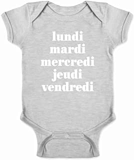Days of The Week in French Infant Baby Boy Girl Bodysuit