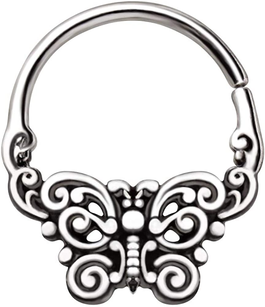 Amelia Fashion 16 Gauge Ornate Butterfly Seamless Bendable Hoop for Septum Cartilage and More 316L Stainless Steel