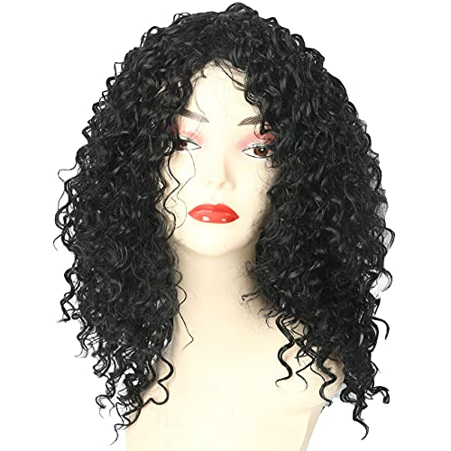 GNIMEGIL 14 inch Curly Wigs for Black Women - African American Curly Afro Wig, Short Synthetic Black Kinky Curly Wig with Bangs 1B