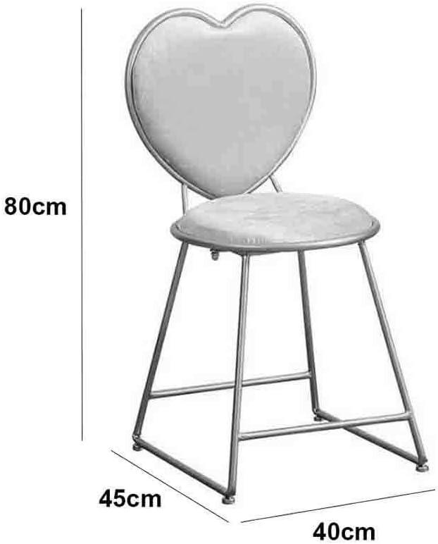 Chair ZWH-Chaise de Salle à Manger Chaises de Bureau Fer forgé Chaise de Maquillage Dining Tabouret for la Maison Dossier/Coiffeuse/Chambre/Balcon/Dressing (Color : B) C