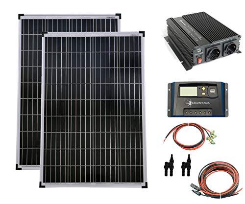 SET 2x 100W Poly Solar Modul 20A Laderegler gelb Spannungswandler 1000W modifiziert Kabel Stecker Komplettset Solarmodul Photovoltaik Inselanlage