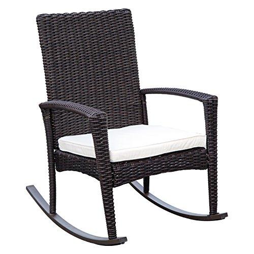 Outsunny Fauteuil à Bascule Rocking Chair avec Coussin d'assise déhoussable 66L x 88l x 98H cm résine tressée Imitation rotin Chocolat