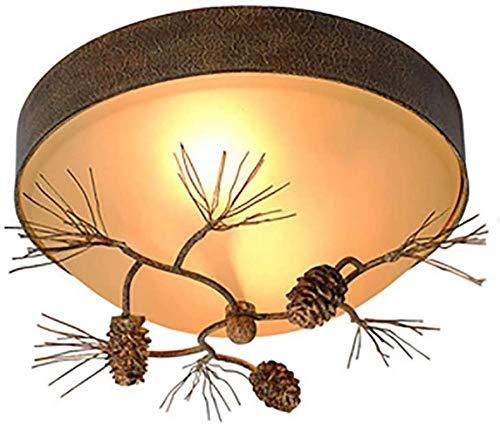 NBVCX Home Decoration American Country Ceiling Light E27 Resin Pine Cones Glass Chandelier 2 Light Retro Close to Ceiling Light Fixtures for Living Room Bedroom Decor Lighting-Retro 3 Light