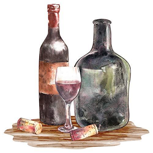 dekodino® Wandtattoo Aquarell Weinflasche mit Weinglas Küche Esszimmer Deko